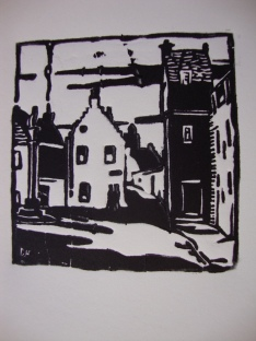 Culross, Fife ...Lino block reprinted by Jo in 2010